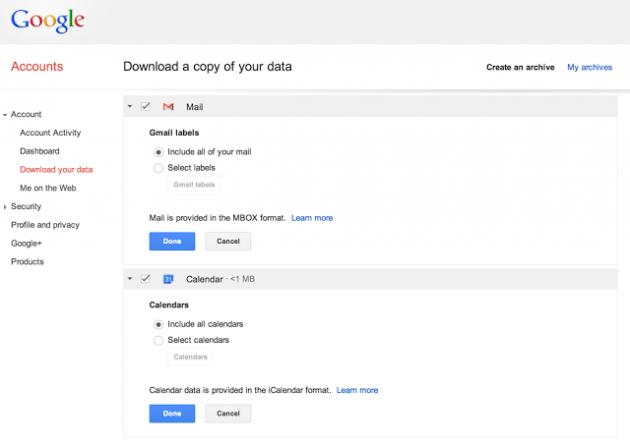 Google Takeout : l'exportation de données se poursuit avec Gmail et Google Agenda