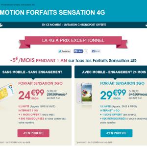 [Bon Plan] Bouygues Telecom baisse de 5€ les forfaits Sensation 4G jusqu'au 26 janvier