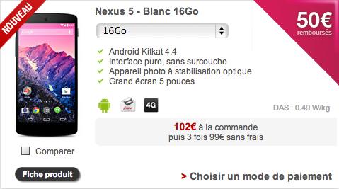 Free Mobile référence désormais le Nexus 5 à 349 euros