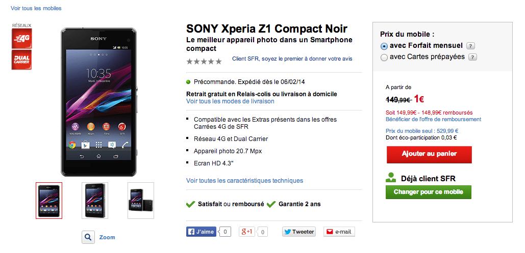 SFR référence le Sony Xperia Z1 Compact à 439 euros avec une Smartwatch 2 pour 1 euro de plus
