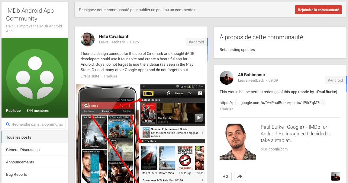 IMDb Movies & TV lance une page communautaire Google+ pour les bêta-testeurs Android