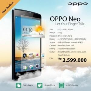 Oppo Neo, l'entrée de gamme de 4,5 pouces s'officialise en Indonésie