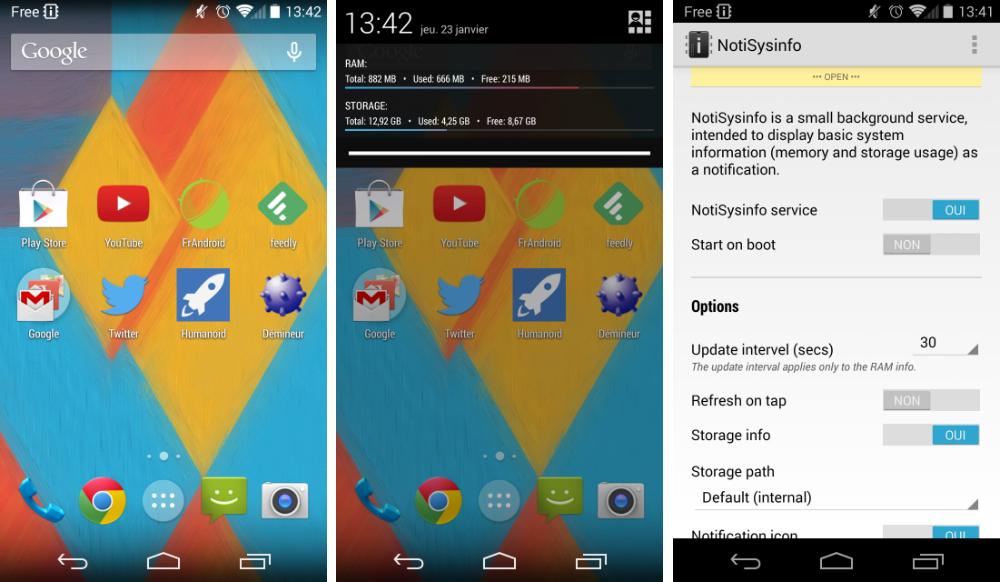 NotiSysinfo : visualisez rapidement la mémoire de votre appareil depuis la barre d'état d'Android