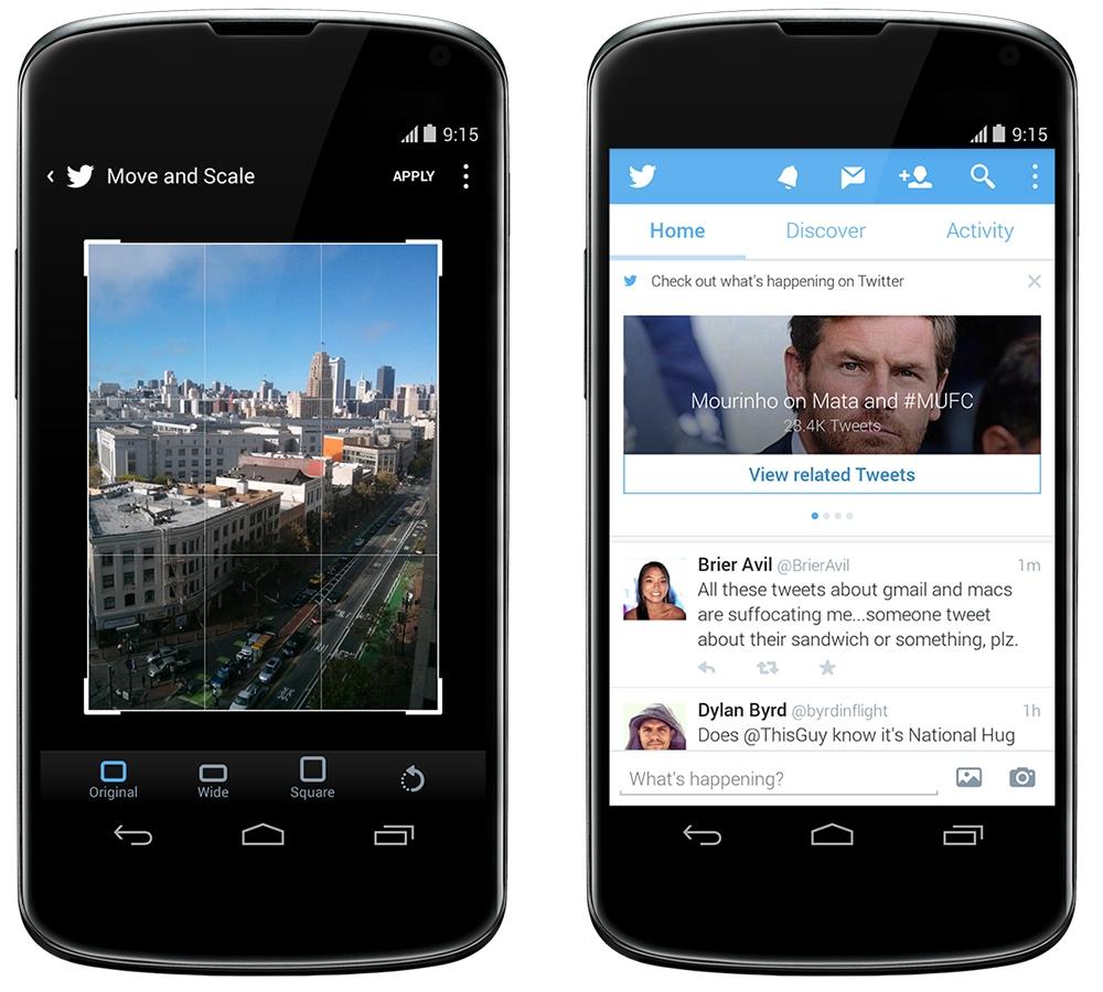 Twitter 5.0.11, le recadrage et la rotation des photos s'améliorent sur Android