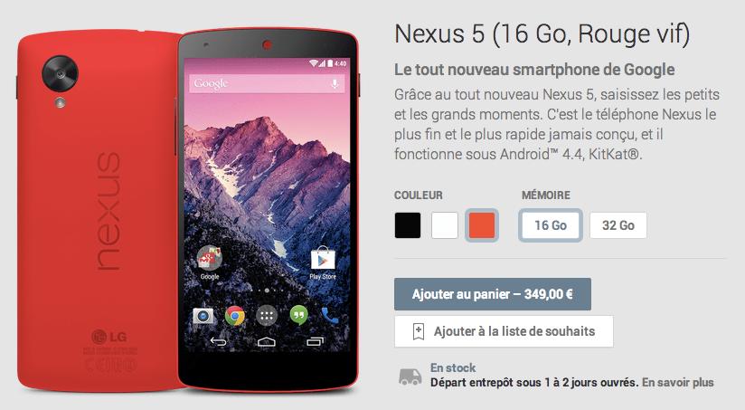 Le Nexus 5 est disponible en rouge sur le Google Play