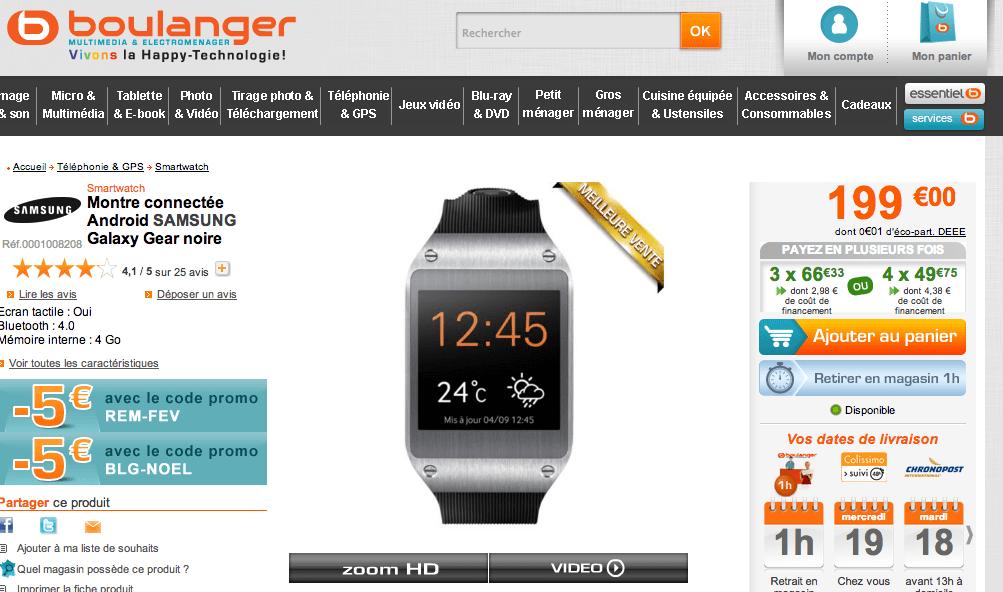 Bon plan : La Samsung Galaxy Gear à 94 euros
