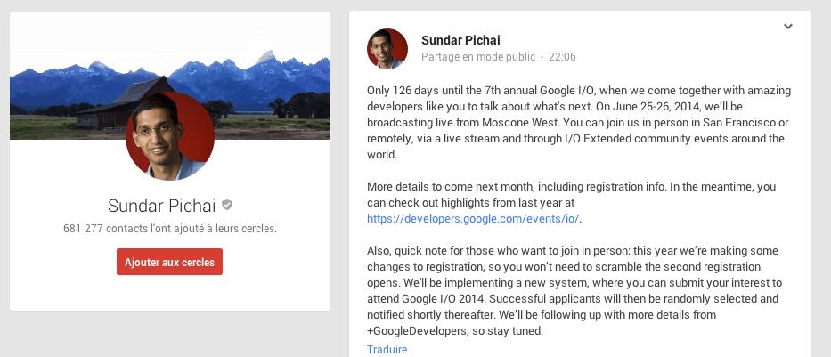 Google I/O 2014 : les 25 et 26 juin !
