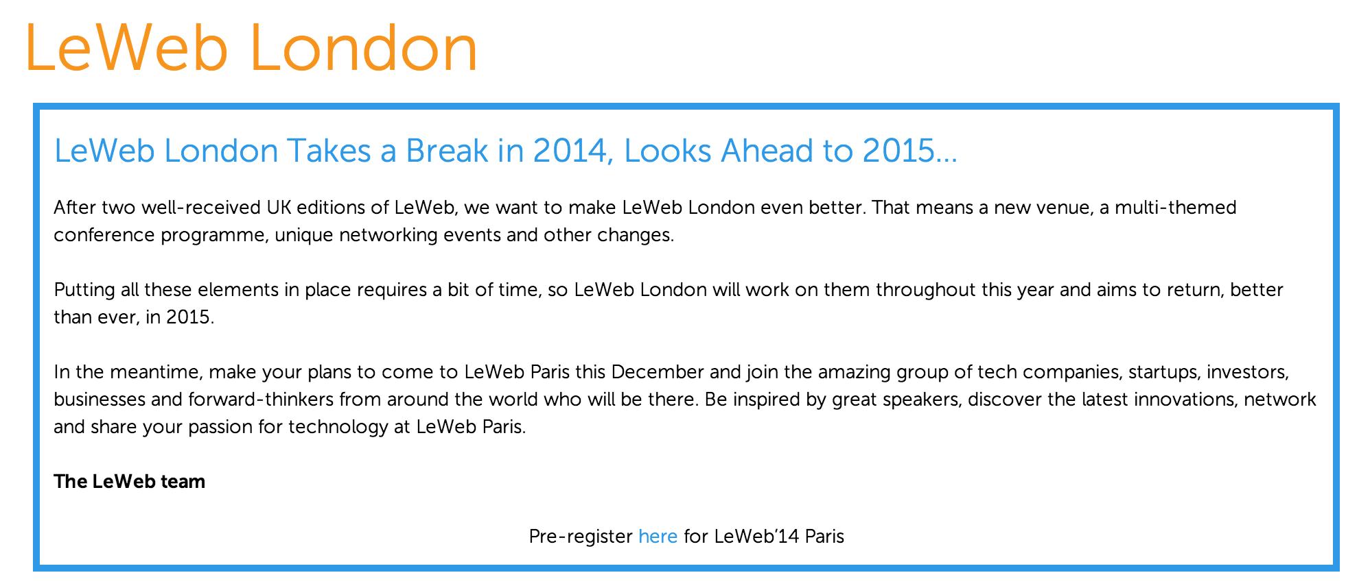 LeWeb, l'édition 2014 de Londres est annulée