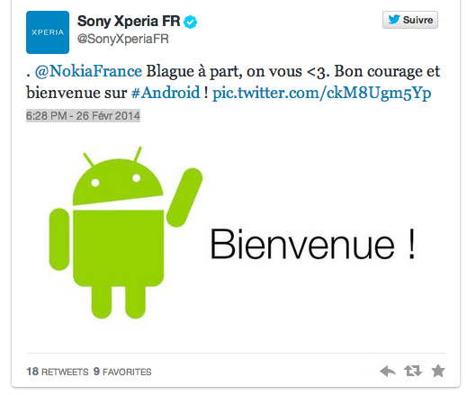 Nokia et Sony s'affrontent sur Twitter