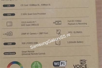 Samsung Galaxy S5 : les caractéristiques dévoilées avec un capteur photo de 20 mégapixels ?