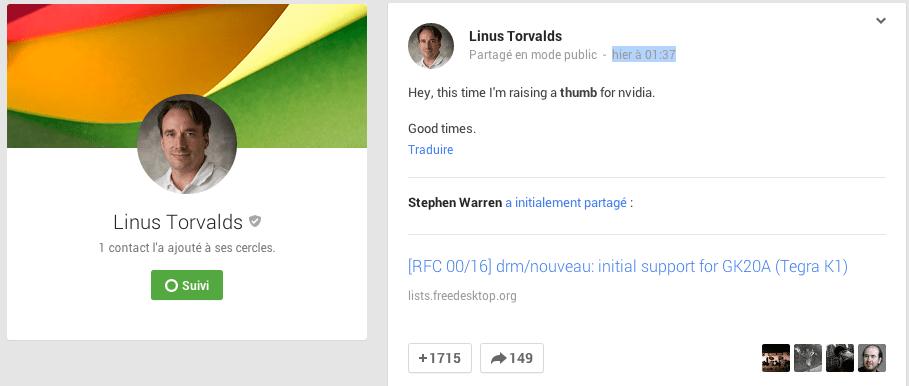 NVIDIA félicité par Linus Torvalds pour la parution rapide des pilotes du Tegra K1