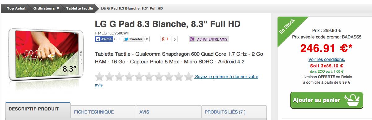 Bon plan : La tablette LG G Pad 8.3 à 196,91 euros