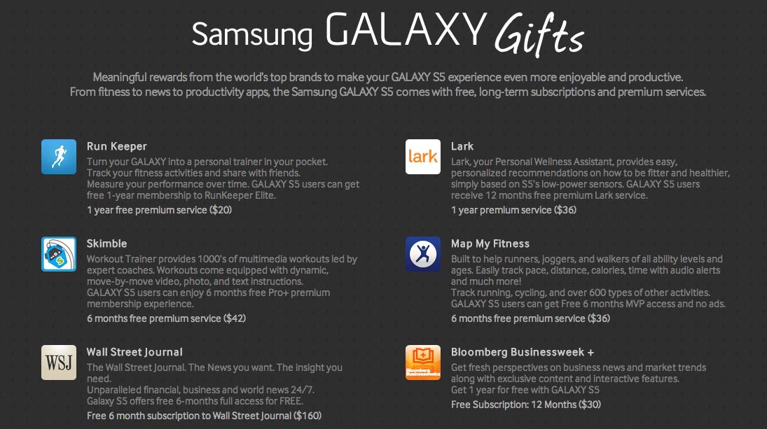 Le Samsung Galaxy S5 sera livré avec 500 dollars de services offerts, les Galaxy Gifts