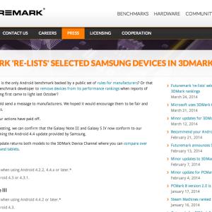 Le classement 3DMark de retour pour les tricheurs : les Samsung Galaxy S4 et Note 3