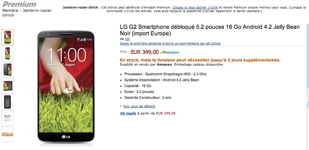 Bon plan : le LG G2 à 349 euros en version 16 Go, un premier signe de baisse de prix ?