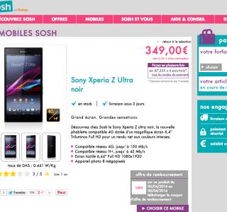 Bon plan : Sony Xperia Z Ultra à 249 euros «nu» chez Sosh