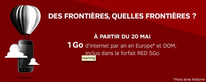 SFR RED passera au roaming le 20 mai, avec 1 Go par an à utiliser en Europe