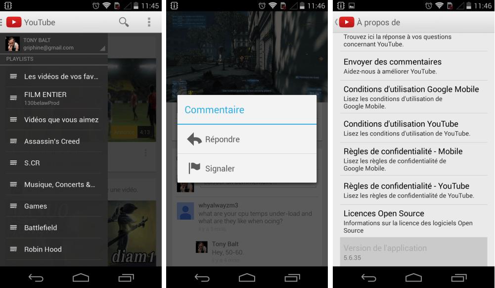 YouTube 5.6.35 : répondez aux commentaires et supprimez les vôtres sur Android