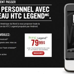 Le HTC Legend chez Virgin Mobile Canada