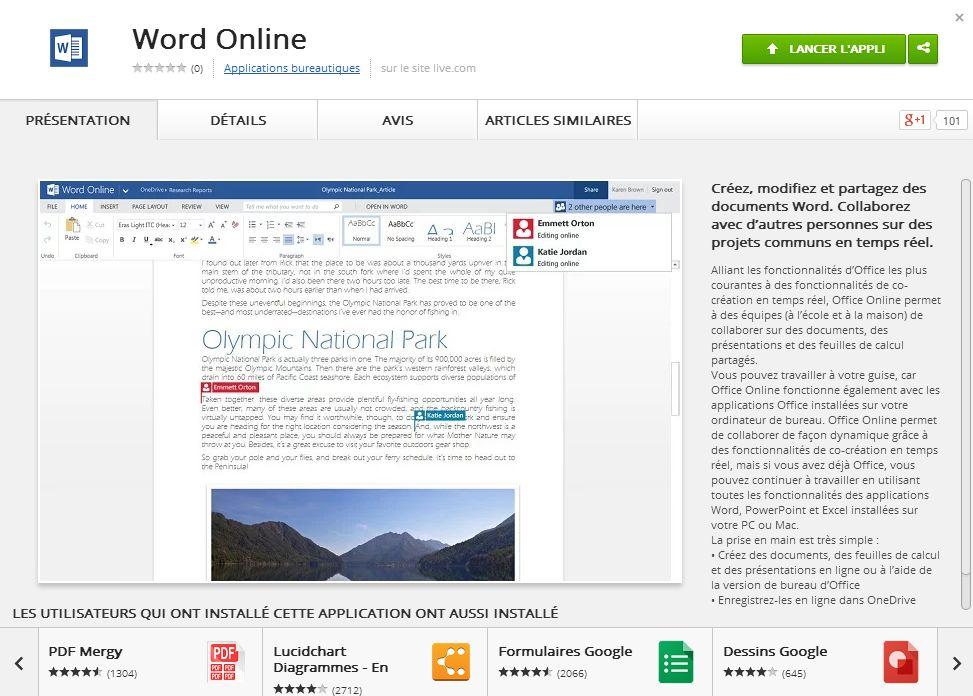 Office Online est désormais disponible sur le Chrome Web Store