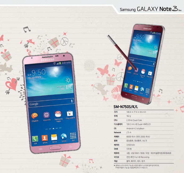 Des déclinaisons rose et rouge pour le Samsung Galaxy Note 3 Neo