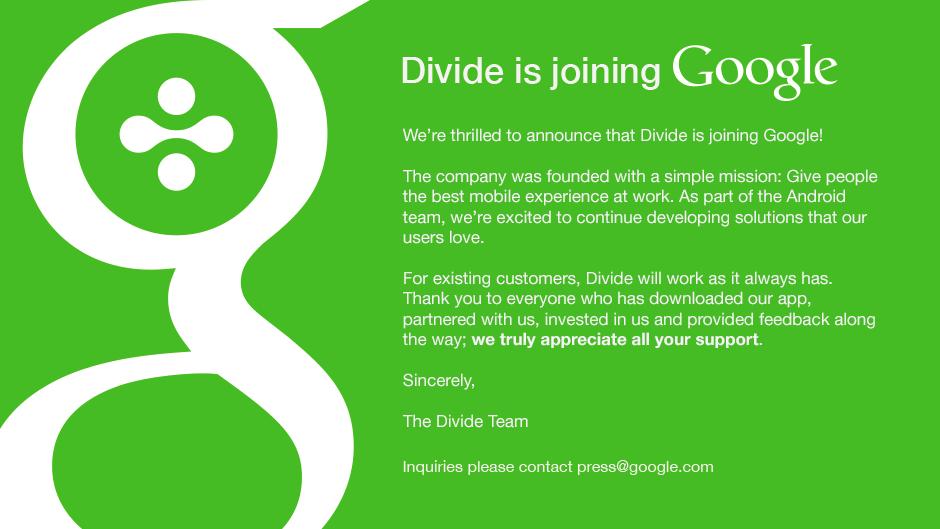 Google achète la start-up Divide et l'intègre à sa branche Android