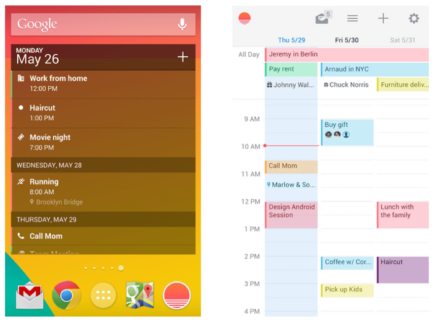 Sunrise sur Android, le client parfait pour remplacer Google Agenda
