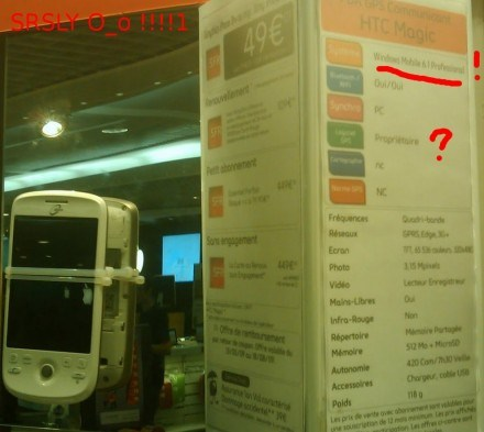 La Fnac considère que le HTC Magic tourne sous Windows