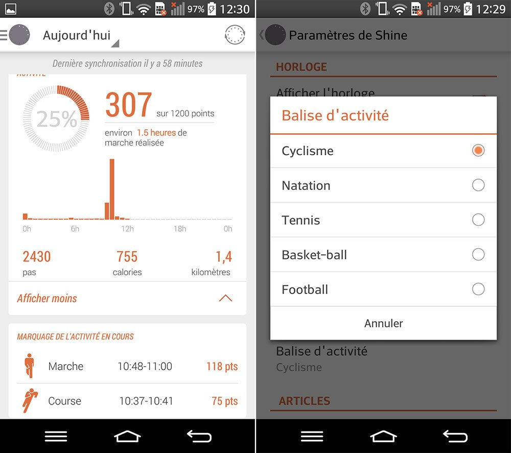 Misfit Shine : le bracelet prend enfin en compte les activités sportives sur Android