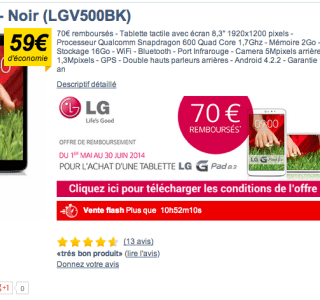 Bon plan : LG G Pad 8.3 à 150 euros