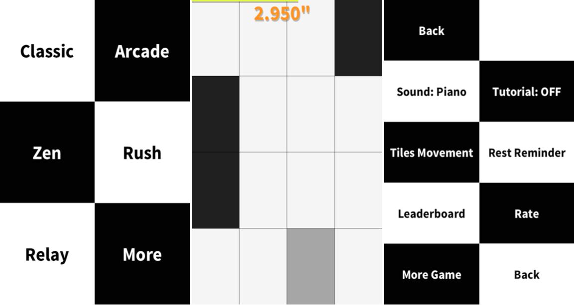 Don't tap the white tile : de la musique, de la précision et de nombreux modes
