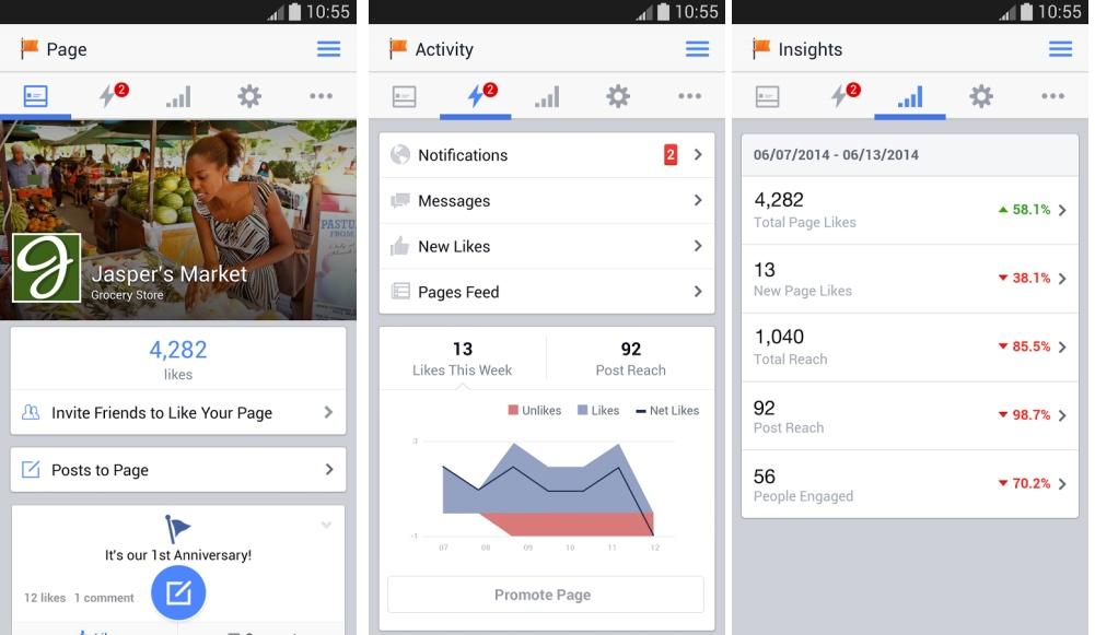 Gestionnaire de Pages : coup de jeune sur l'app Facebook pour Android