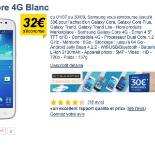 Soldes : le Samsung Galaxy Core 4G à moins de 160 euros !