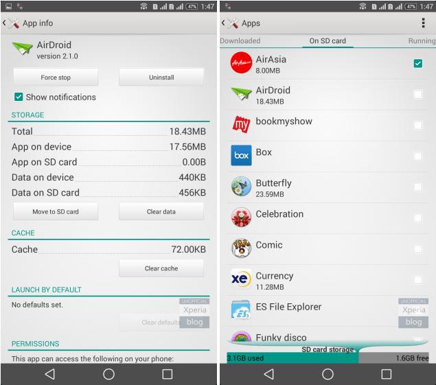 Sony autorise le déplacement des apps sur les micro-SD… au moins sur le T2 Ultra