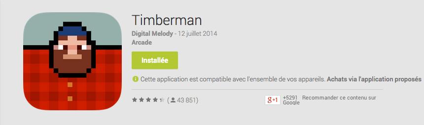 Timberman, le Flappy Bird des bûcherons