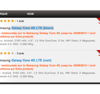 Bon plan : Samsung Galaxy Core 4G LTE à 119 euros