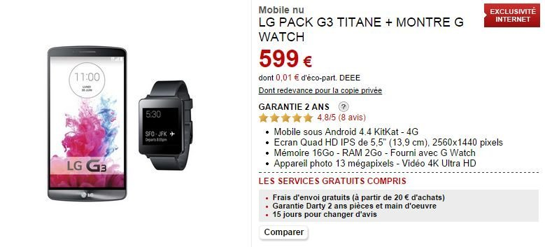 Bon Plan : un pack LG G3 + G Watch à 499 euros chez Darty