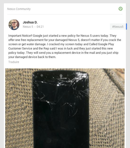 Google remplacerait gratuitement les écrans cassés du Nexus 5