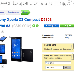 Xperia Z3 Compact : 439 euros au Royaume-Uni ?