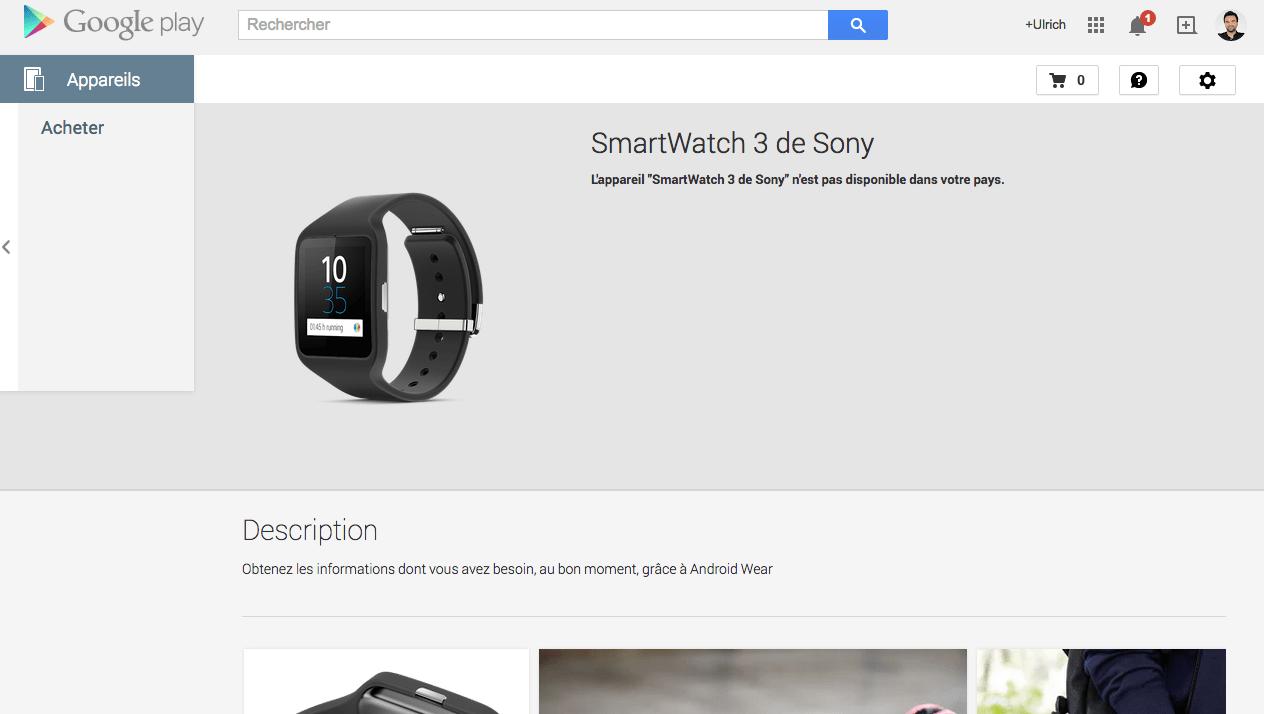 La Sony SmartWatch 3 débarque sur le Google Play aux Etats-Unis