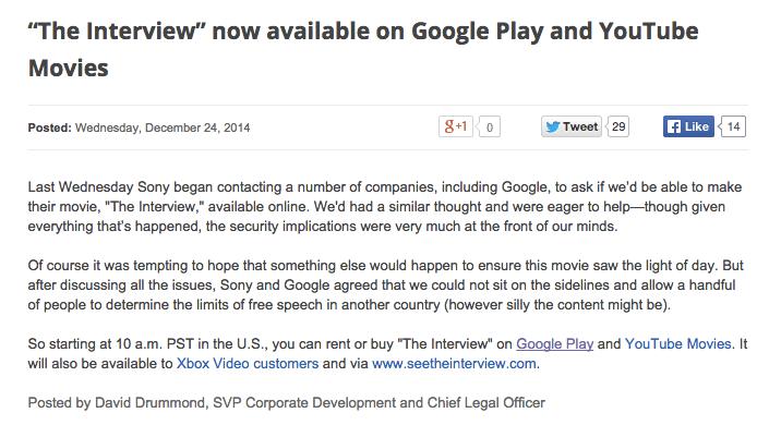 The Interview disponible sur le Google Play et Xbox Video