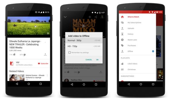 Youtube teste l'intégration d'un mode hors ligne à son application mobile