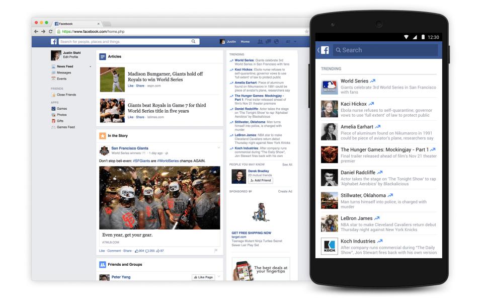Facebook se met aux sujets «Trending» sur les mobiles