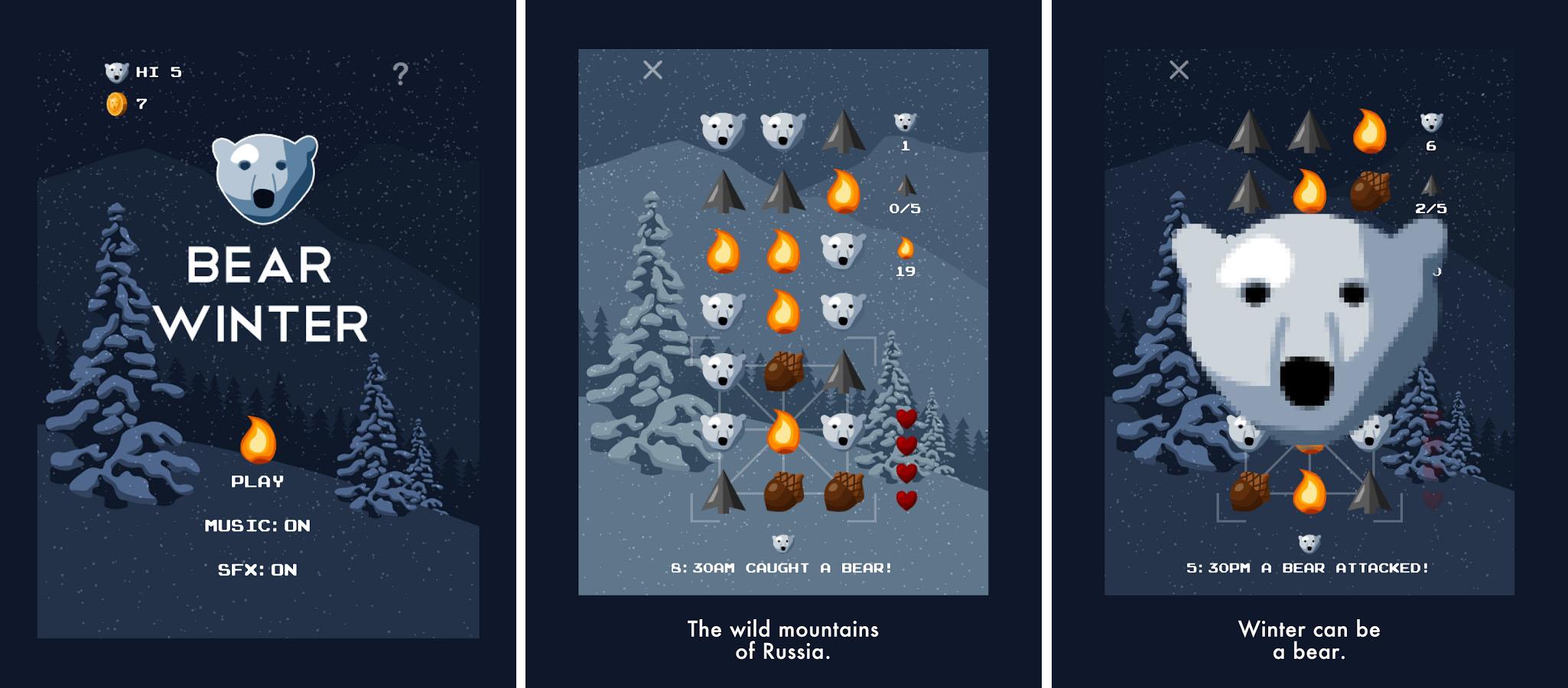 Bear Winter n'a pas peur du mélange des genre et allie survival et match-3