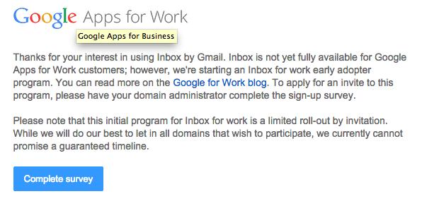 Inbox vise désormais les Google Apps for Work