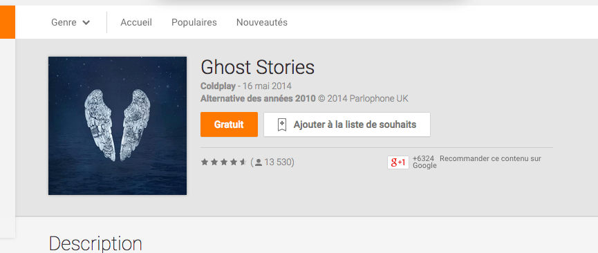 L'album Ghost Stories de Coldplay est gratuit sur Google Play