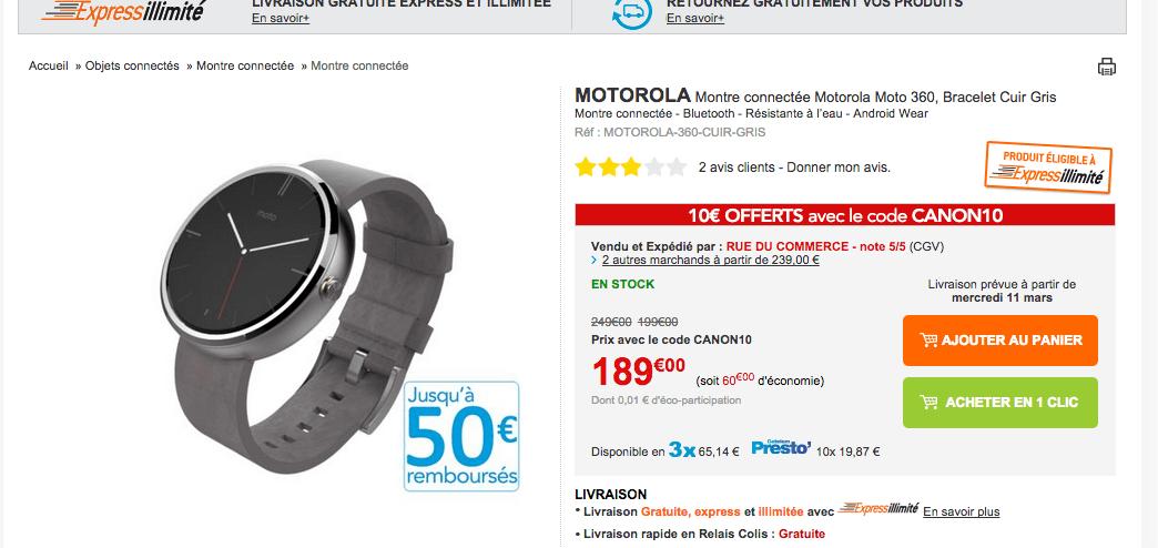 Bon plan : Moto 360 à seulement 140 euros