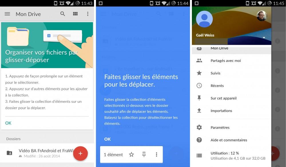 Google Drive en version 2.2 autorise désormais le glisser-déposer de fichiers et dossiers