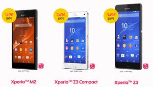 Bon plan : 160 euros de réduction sur le Xperia Z3, 150 euros sur le Xperia Z3 Compact et 40 euros sur le Xperia M2