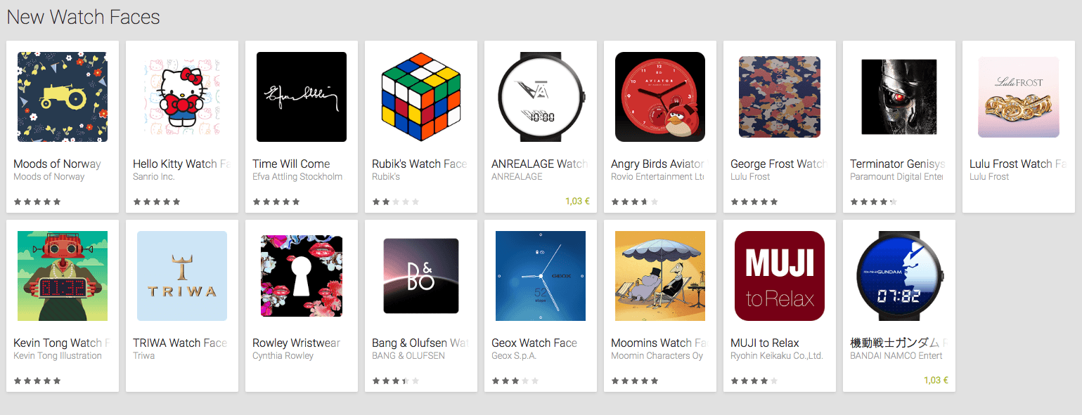 Google publie une nouvelle collection de cadrans Android Wear
